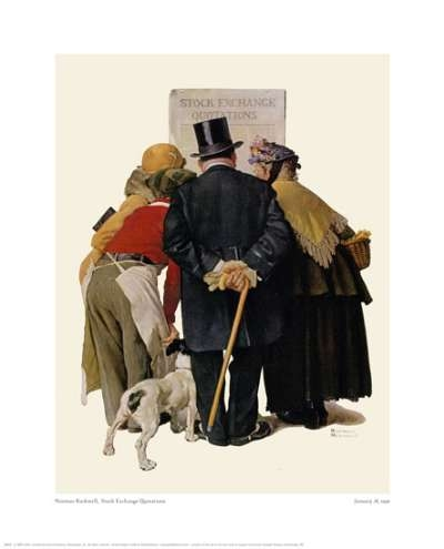 """Norman Rockwell """"Four People Reading Stock Exchange"""""""