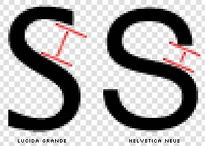 Comparisons of the apertures on the Lucida Grande and Helvetica Neue 'S' respectively.