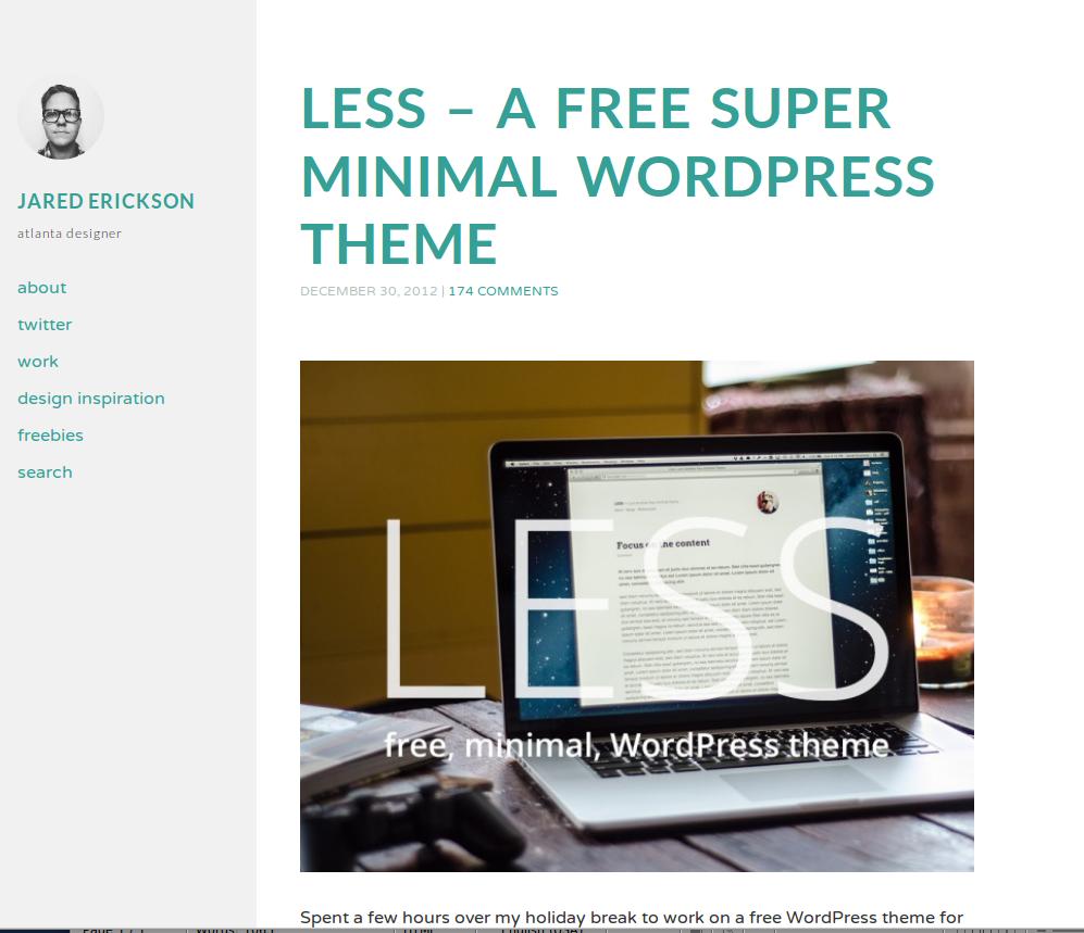 Less - a free super minimal WP theme