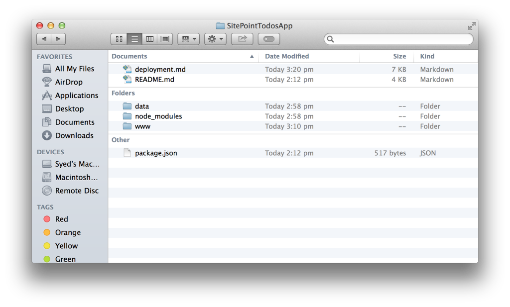 Hoodie App folder structure
