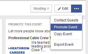 The Facebook promote event screen