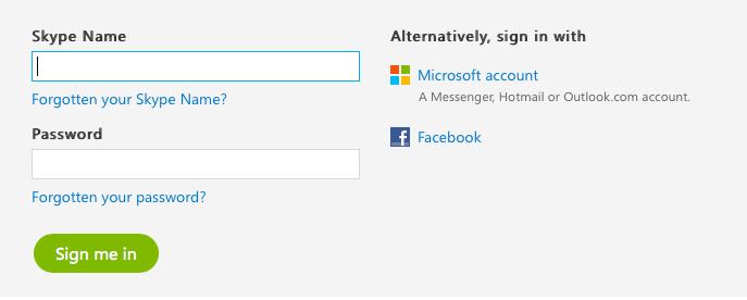 Skype's login screen