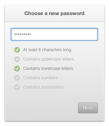A bullet list of criteria indicating that the input password is at least 8 characters and contains lowercase letters, but does not contain uppercase letters, numbers or punctuation.