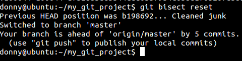 Git bisect reset - coming back to old state