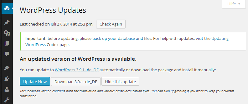 WordPress German Language Example