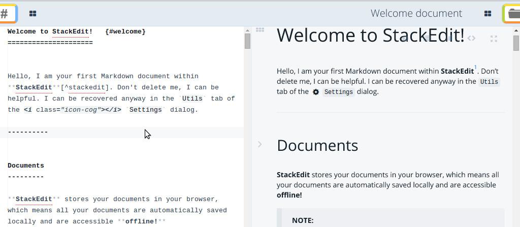 Markdown editing on StackEdit