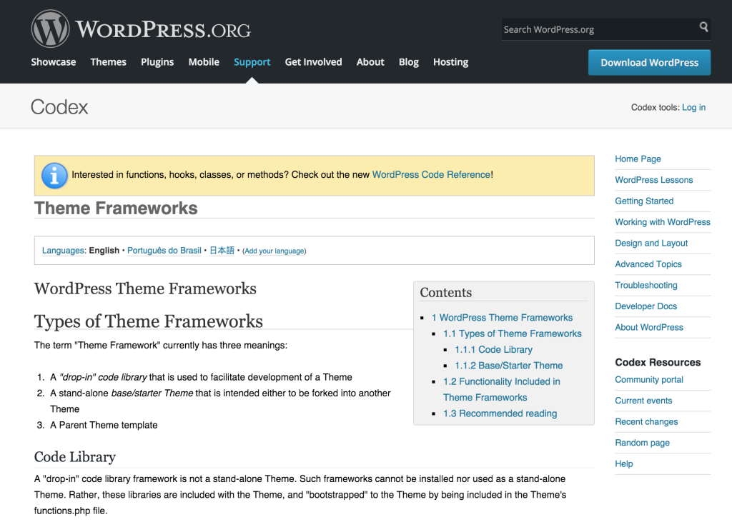 Theme Frameworks WordPress Codex