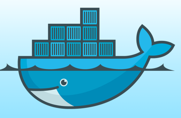 A cartoon whale swimming just below the surface of the water, carrying ten containers on its back