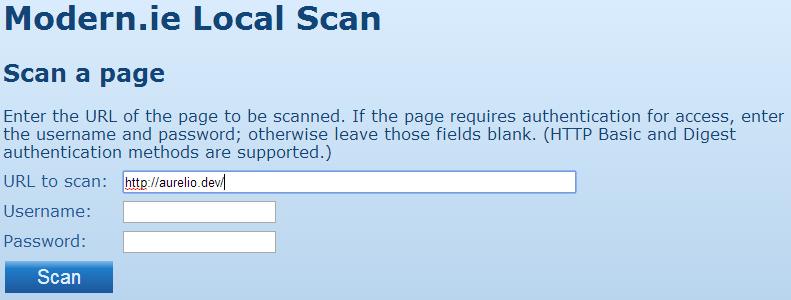Beginning a site scan