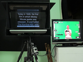 Teleprompter in action