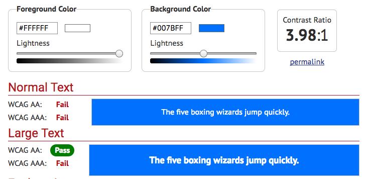 Bootstrap blue contrast 3.98:1 fail
