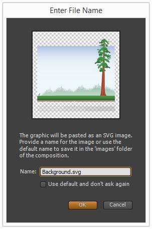 Figure 6: Pasting Illustrator graphics in Edge Animate creates an SVG