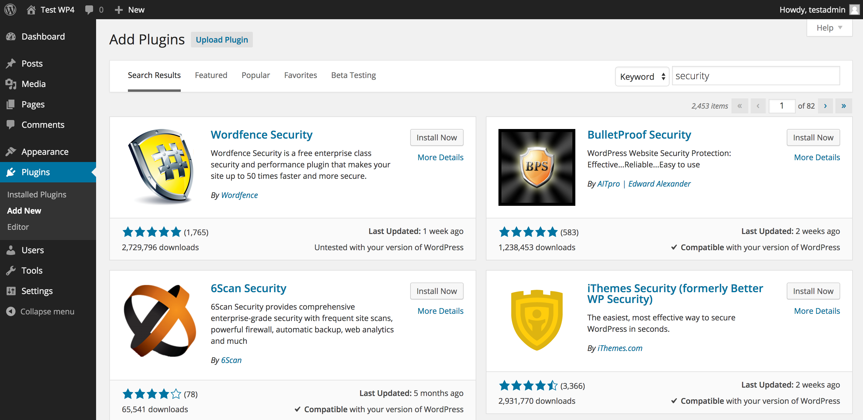 WordPress 4.0 Plugin Install View
