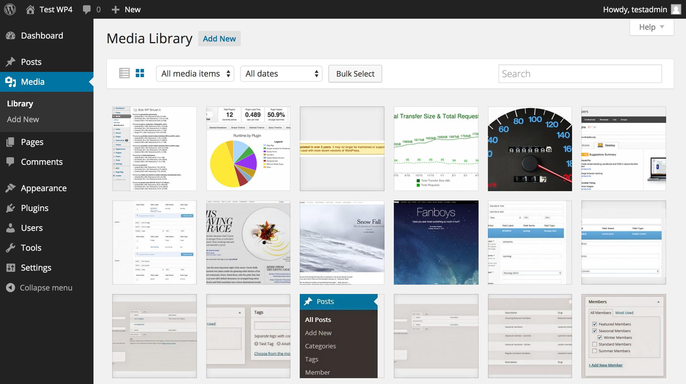 WordPress 4.0 Media Grid View
