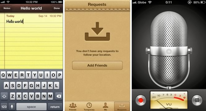 Three iOS app UIs.