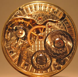 A delicate watch movement.