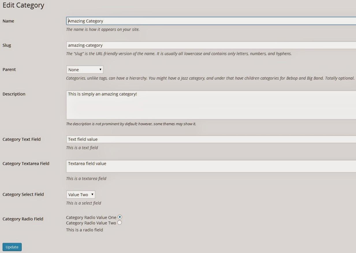 Category Edit Screen