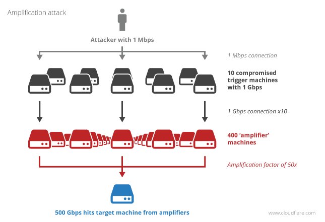 A botnet can act as an amplifier to increase the efficacy of an attack as shown in the image above