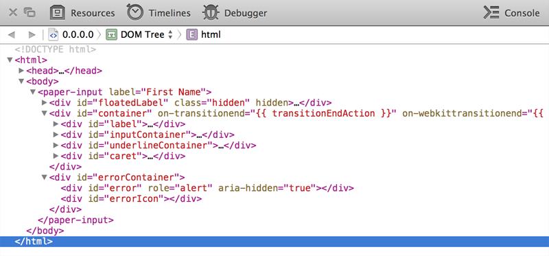 Safari Devtools Screenshot for Custom Element