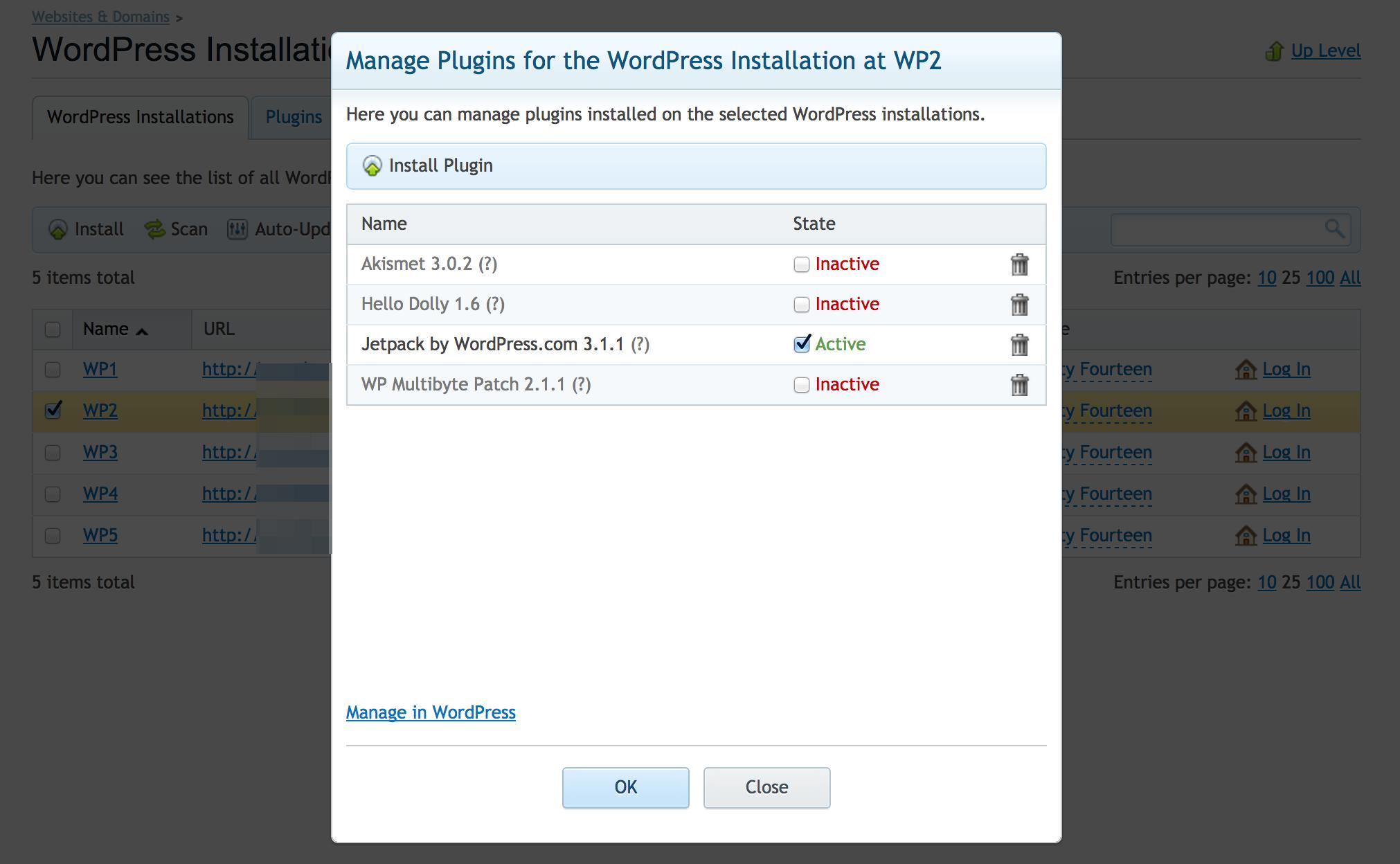 Plesk Plugin Management