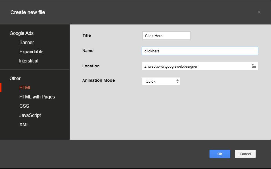 Create new file panel