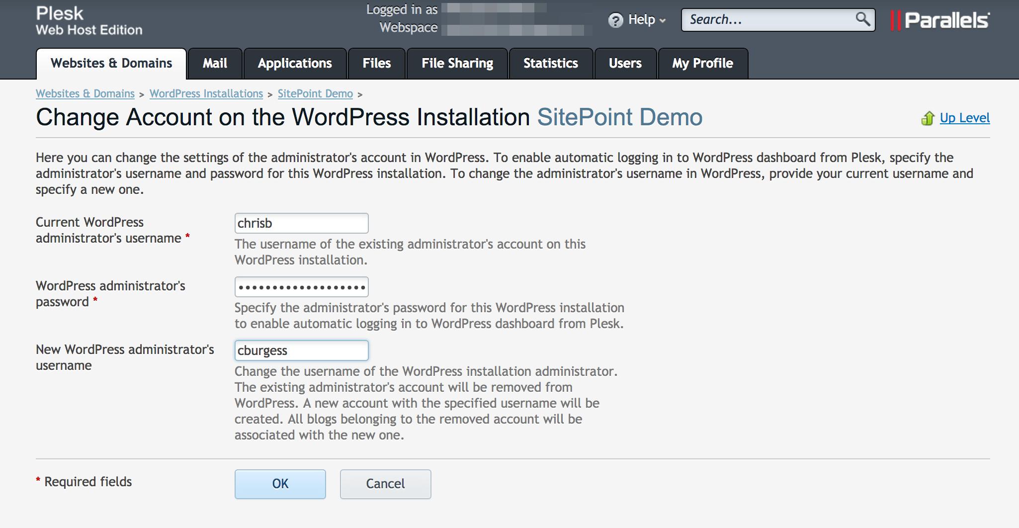 WordPress Toolkit Changing Admin Username