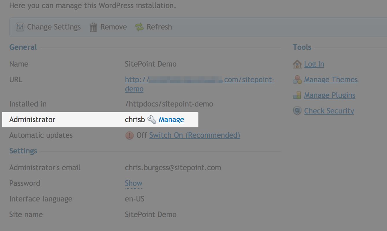 WordPress Toolkit Changing Admin Username Link