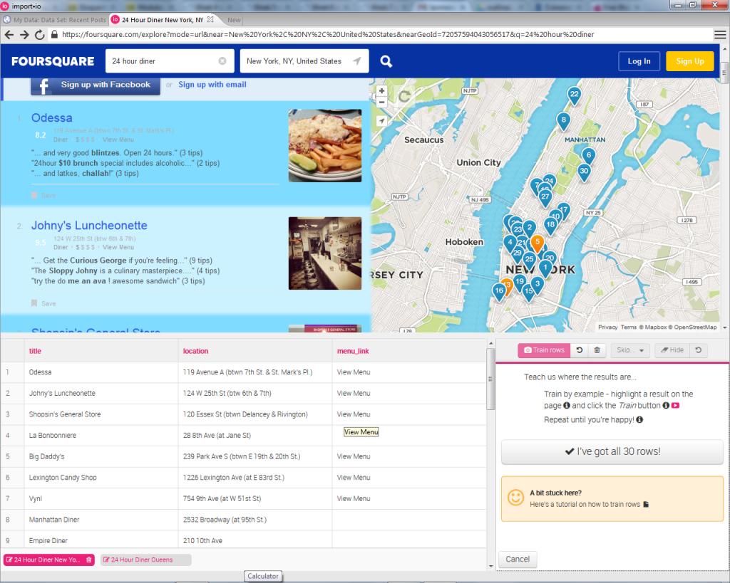 FourSquare displaying location data