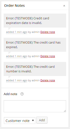 Error Order Notes