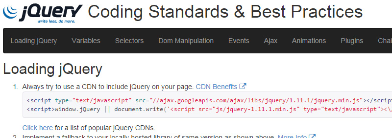 jQuery Coding Standards & Best Practices