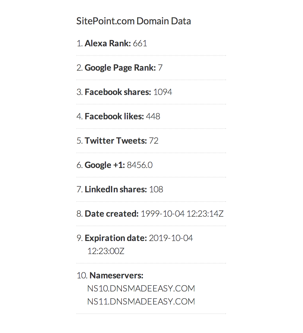 WordPress Whois Widget Data