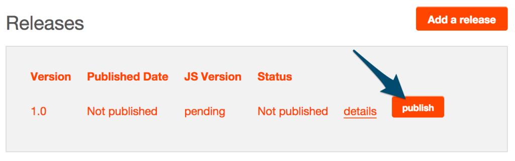 Publish release button