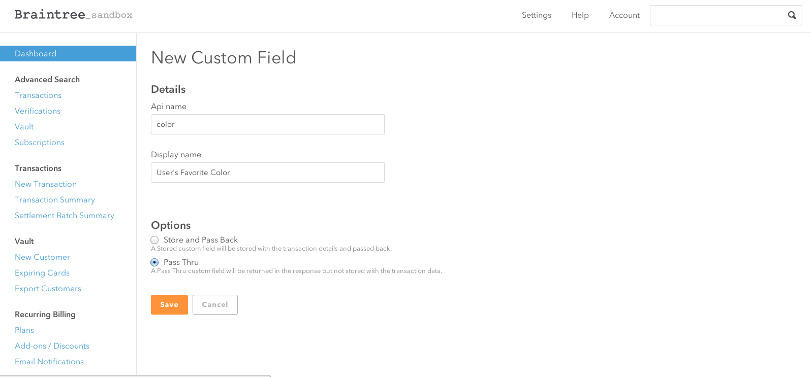 Braintree Control Panel Custom Field Page