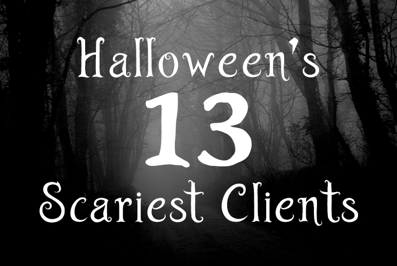 """Spooky trees with cliché halloween text: """"Halloween's thirteen scariest clients."""""""