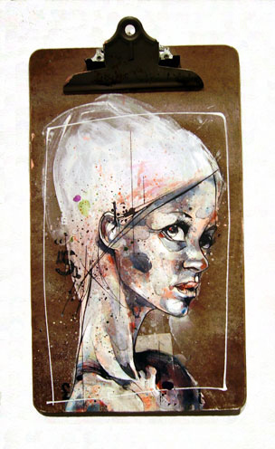 Girl image painted onto clipboard