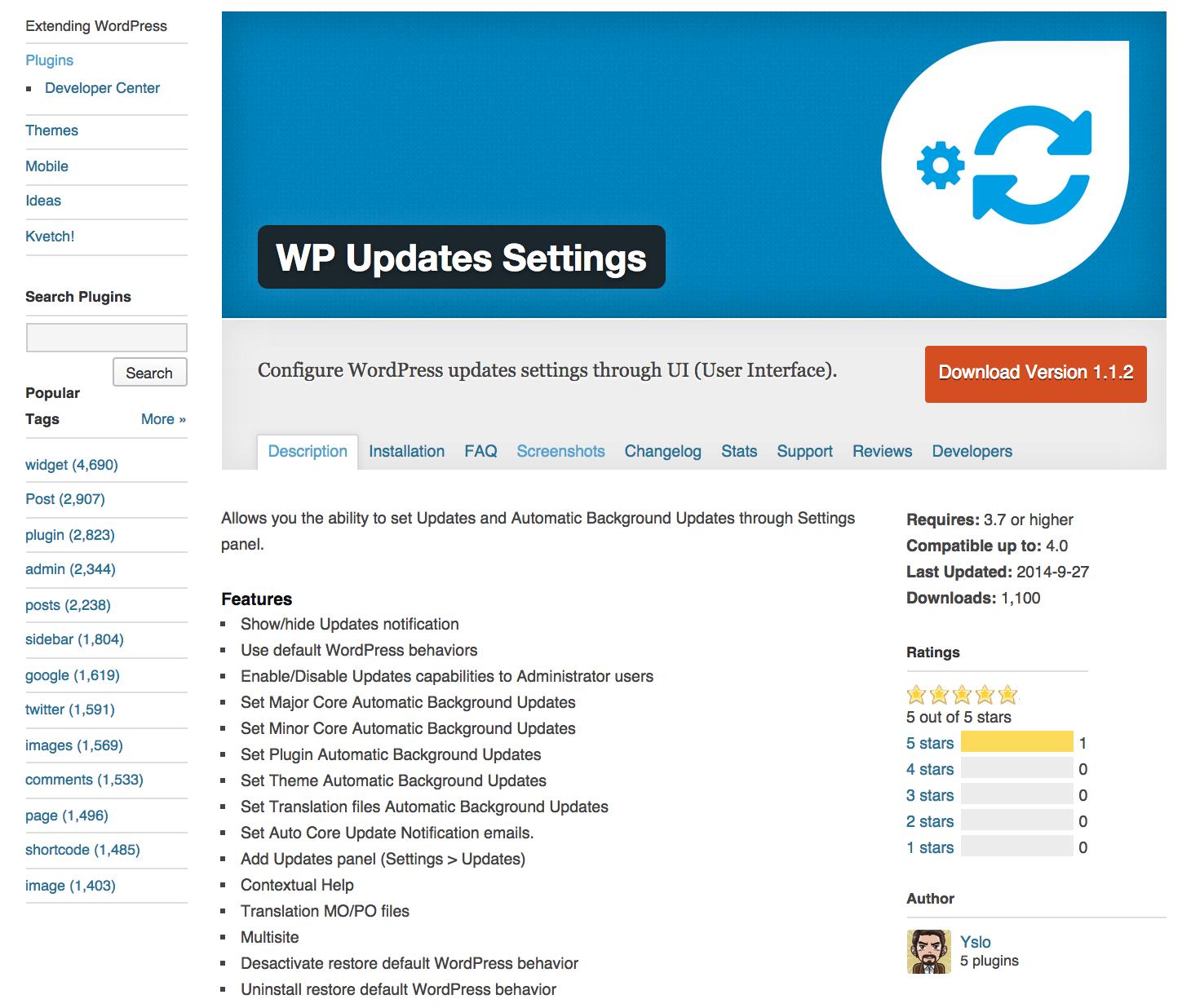 WP Updates Settings