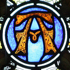 Stained glass window: Letter 'A'.