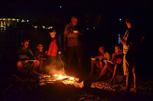 Night time Beach bonfire scene