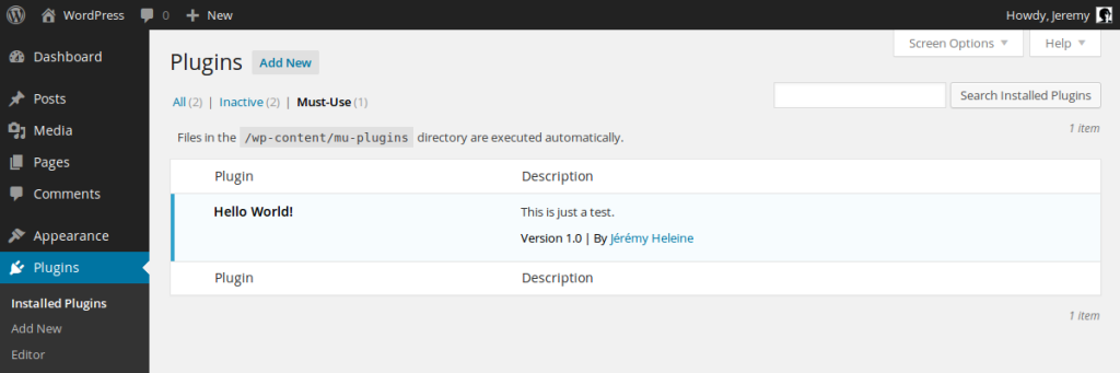 Screenshot of Must-Use Plugins enhanced lIst