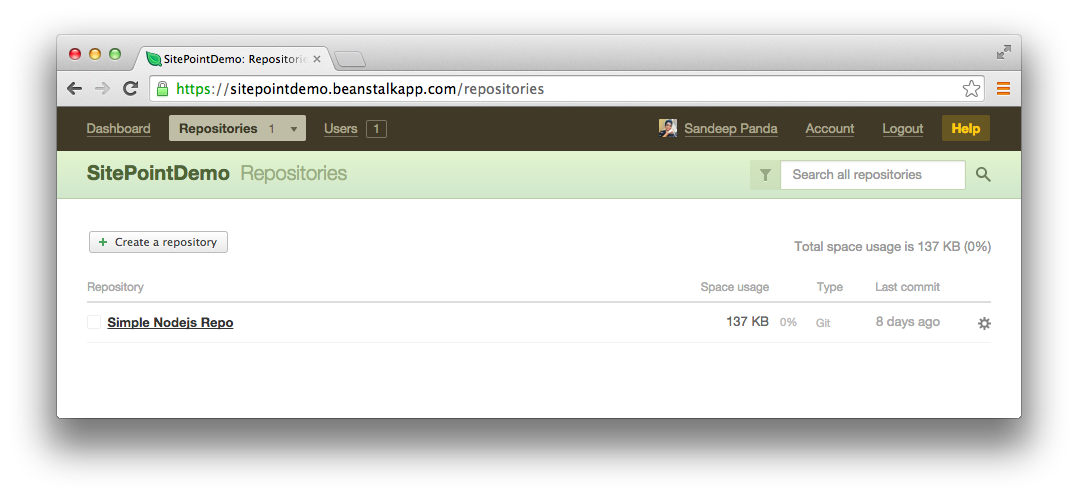 My repositories tab