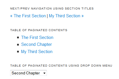 "A table of contents with two links at the top to ""the first section"" and ""the third section"". Below is a list of three links, one for each section."