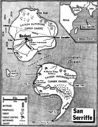 Map:  The island nation of San Serriffe.