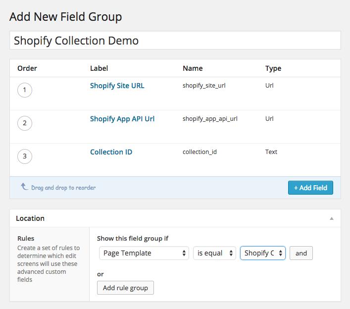 Custom fields setup using Advanced Custom Fields