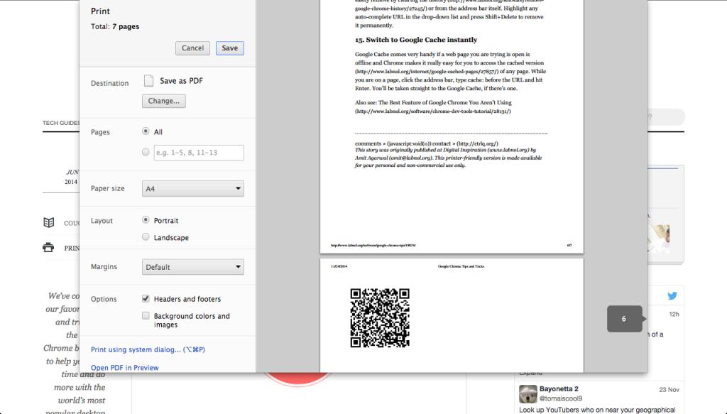 Digital Inspiration prints QR codes