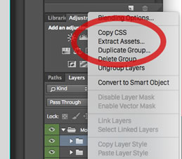 Launching the Extract Assets panel from inside the Layers panel.