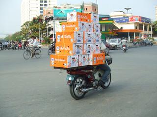 Overloaded motorbike