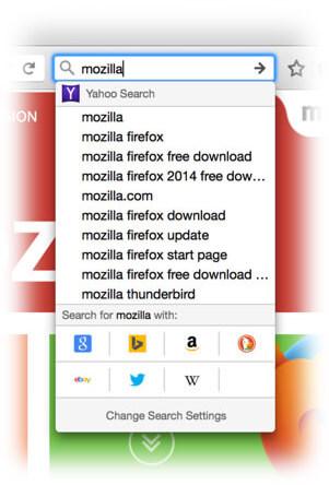 Firefox 34 search bar