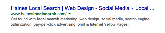 A google search result with a partial title. The title reads: Haines Local search, web design, social media, local, and then an ellipsis.