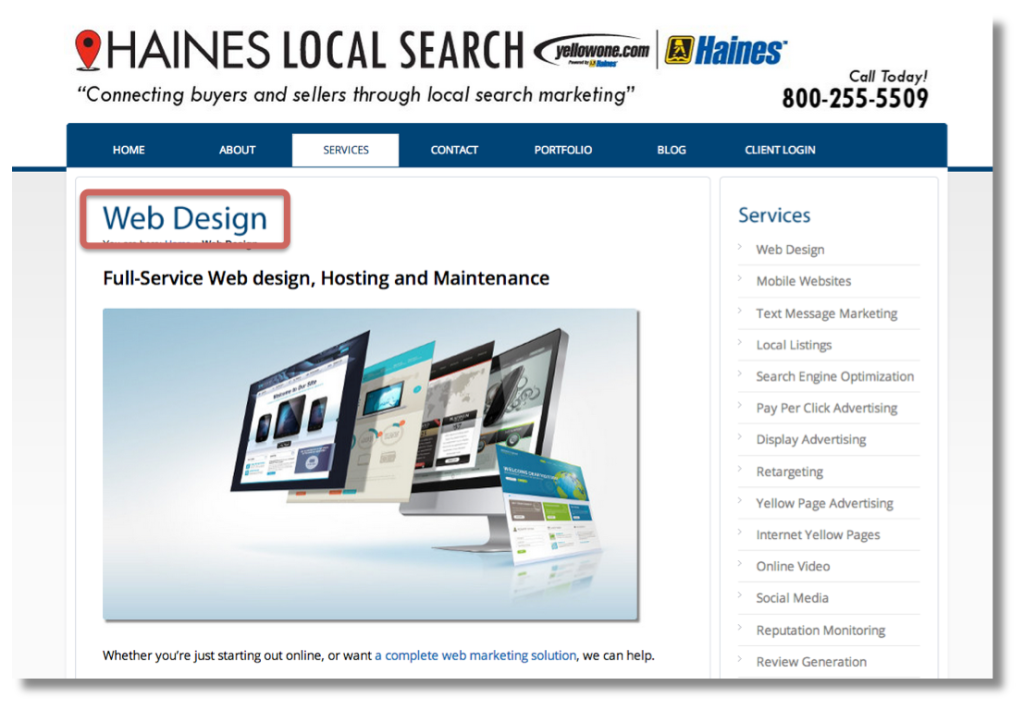 """A web page - Haines Local Search - with a large page heading, """"Web Design."""""""