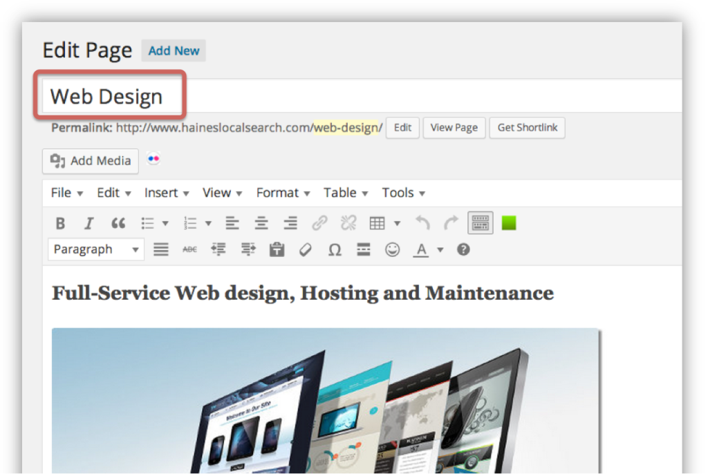 The WordPress editor with the page heading field highlighted.